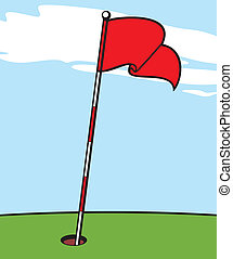 illustratie, van, een, golf vlag
