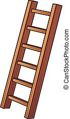 illustratie, van, een, houten ladder