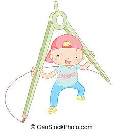 illustratie, van, een, jongen, met, kompassen