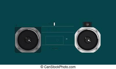 illustratie, van, een, retro, ghetto blaster, met, de,...