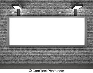 illustratie, van, een, straat, reclame, paneel, op de avond