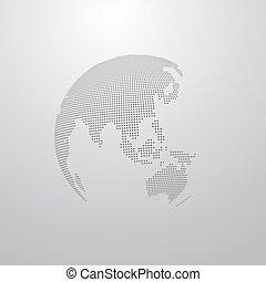 illustratie, van, een, wereldbol, kaart