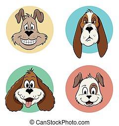 illustratie, van, enig, spotprent, dog, avatar, iconen