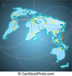 illustratie, van, enig, wereld, koopmanschapen, routes.