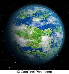 illustratie, van, fantasie, aarde, zoals, planeet