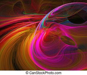illustratie, van, fractal, abstractie, achtergrond, helder,...