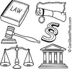 illustratie, van, gerechtelijk, iconen