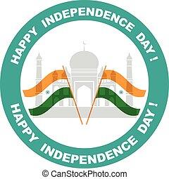 illustratie, van, golvend, indiër, vlaggen, met, monument, onafhankelijkheid dag