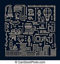 illustratie, van, moderne, lijn, plat, ontwerp, stad, levensstijl, compositi