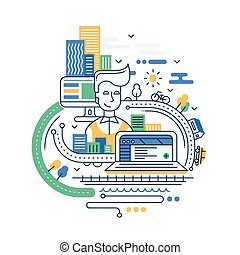 illustratie, van, moderne, lijn, plat, ontwerp, stad, levensstijl, samenstelling, met, gebouwen, en, cityscape, infographics, element