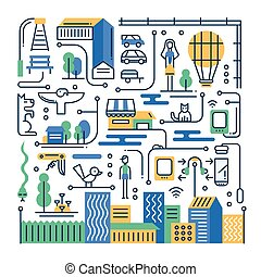 illustratie, van, moderne, lijn, plat, ontwerp, stad, levensstijl, samenstelling, met, gebouwen, cityscape, infographics, communie
