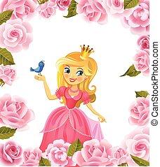 illustratie, van, mooi, prinsesje