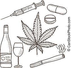 illustratie, van, narcotica, -, marihuana, alcohol, en,...