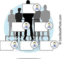 illustratie, van, organogram, met, zakenlui, groep