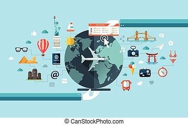 illustratie, van, plat, ontwerp, reizen, samenstelling, met, beroemd, wereld, bekende & bijzondere plaatsen, iconen