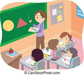 illustratie, van, stickman, geitjes, leren, gedaantes, in, een, klaslokaal