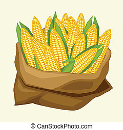 illustratie, van, stylized, zak, met, fris, rijp, koren, cobs.