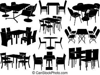 illustratie, van, tafels en stoelen