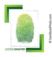 illustratie, van, toegang, granted, meldingsbord