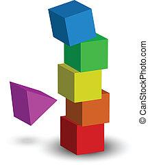 illustratie, van, toren, instorting