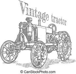 illustratie, van, tractor