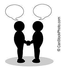 illustratie, van, twee mensen, schuddende handen