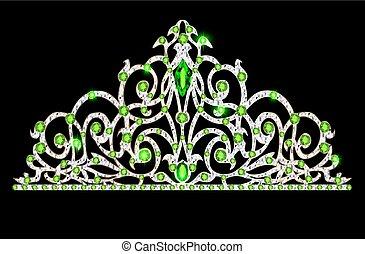 illustratie, van, vrouwen, prinsessenkroon, kroon, trouwfeest, met, groene, stenen