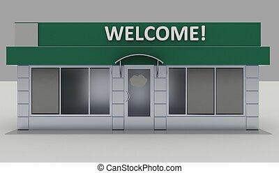 illustratie, van, winkel, -, kiosk, buitenkant