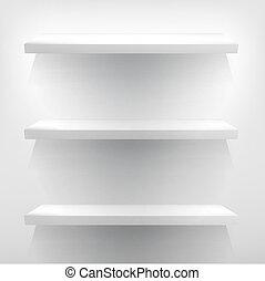 illustratie, van, witte , planken, met, light., +, eps10
