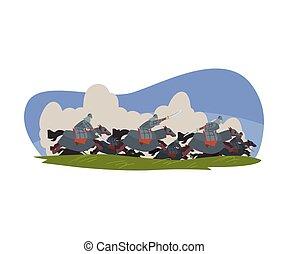 illustratie, vecht, strijders, vector, nomade, paarden, aziaat, zwaarden, paardrijden, mongools