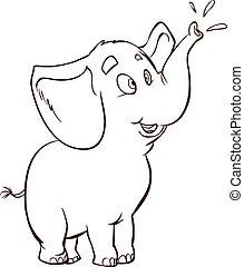 illustratie, vector, achtergrond, elefant, baby, witte