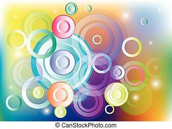 illustratie, vector, circles., abstract, achtergrond, gekleurde