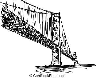 illustratie, vector, doodle, hand, getrokken, van, schets, san francisco, brug, usa, vrijstaand, op, white.