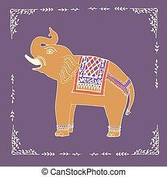 illustratie, vector., elefant