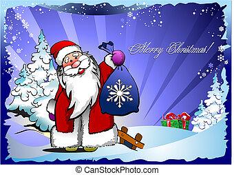 illustratie, vector, jaar, kerstmis., nieuw, night.