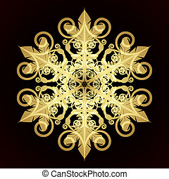 illustratie, vector, rood, sneeuwvlok, kerstmis kaart