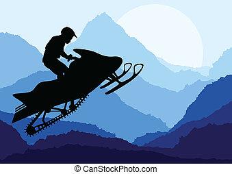 illustratie, vector, snowmobile, achtergrond, passagiers,...