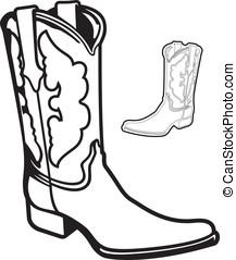 illustratie, vector, spotprent, laars, grafisch, set, cowboy
