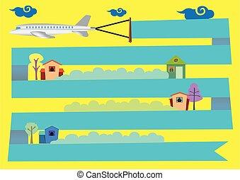illustratie, vector, vliegen over, vliegtuig, spotprent, huisen, spandoek