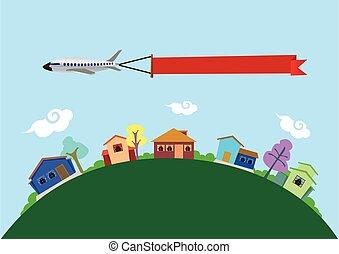 illustratie, vector, vliegen, vliegtuig, huisen, boven, spandoek