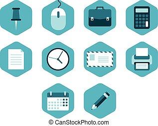 illustratie, vector, zakelijk, icons.