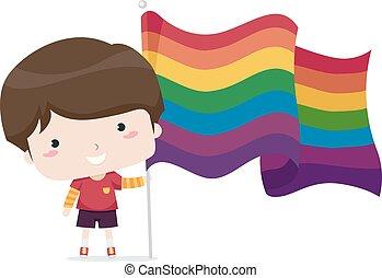 illustratie, vlag, jongen, lgbt