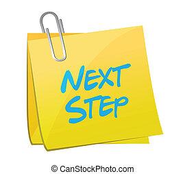 illustratie, volgende, stap, ontwerp, boodschap, post