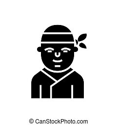 illustratie, vrijstaand, -, japanner, meldingsbord, vector, zwarte achtergrond, pictogram, ninja