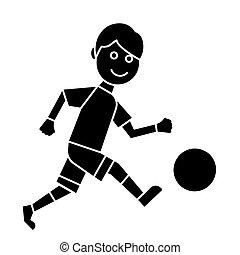 illustratie, vrijstaand, meldingsbord, speler, vector, zwarte achtergrond, pictogram, voetbal