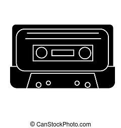 illustratie, vrijstaand, meldingsbord, vector, zwarte achtergrond, pictogram, cassette, audio