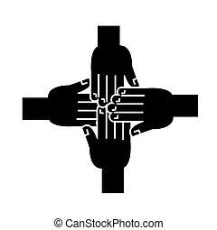 illustratie, vrijstaand, samen, meldingsbord, vector, zwarte achtergrond, handen, pictogram