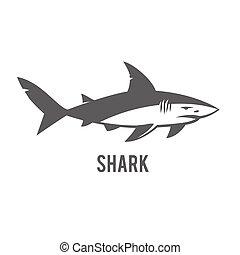 illustratie, vrijstaand, white., monochroom, haai, stylized