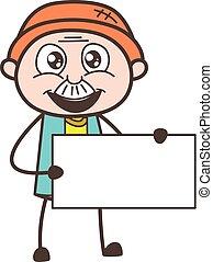 illustratie, vrolijk, vector, opa, vasthouden, spandoek, spotprent