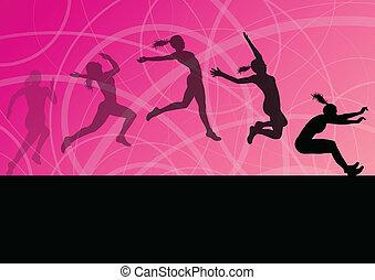illustratie, vrouw, drievoudig, atletisch, vliegen, lange sprong, silhouettes, vector, verzameling, achtergrond, actief, meisje, sportende